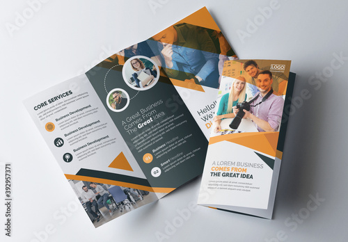 Corporate Trifold Brochure Layout with Graphic Elements and Orange Accents