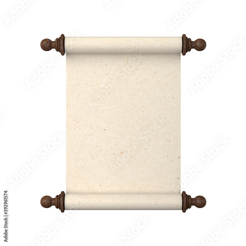 Scroll of paper with wooden handles on a white background, 3D render © salamahin