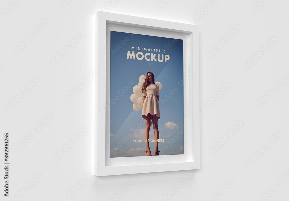 Fototapeta Modern White Minimalistic Frame Side View Mockup