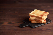 Several Slices Of Toasted Brea...
