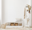 canvas print picture Wall mockup in white clear hallway interior, 3d render