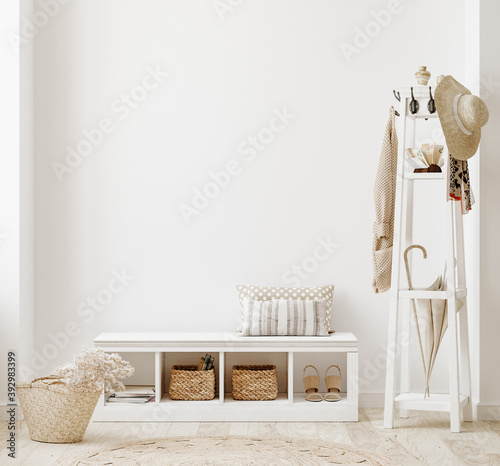 Wall mockup in white clear hallway interior, 3d render