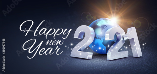 Happy New Year greeting and silver date 2021 composed with a blue planet earth, glittering on a black background