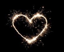 Bright Sparkling Heart Contour On Black Background