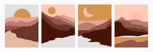 Set Abstract Landscape Of Mountains And Rivers With The Sun In A Minimal Trendy Style. Vector Background In Terracotta Colors For Covers, Posters, Postcards, Social Media Stories. Boho Art Prints.