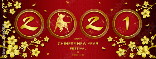 Obraz 2021 year of the ox with happy chinese new year text on red Chinese style banner background - fototapety do salonu