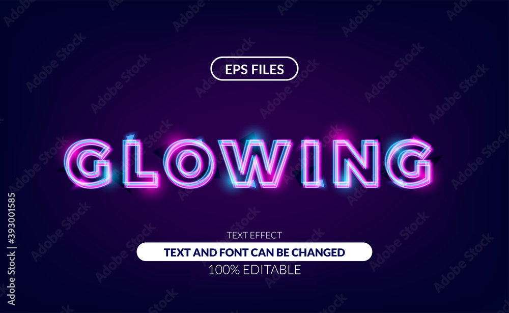 Fototapeta nice glowing line neon lamp editable text effect, eps vector file. suitable for tech, future