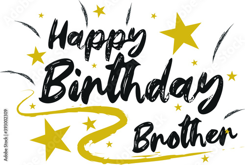 Happy Birthday brother Hand drew gold and black wish Poster Mural XXL