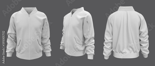 Fotografiet Bomber jacket mockup, design presentation for print, 3d illustration, 3d renderi