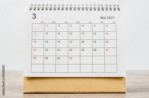 Obraz March 2021 Calendar desk for organizer to plan and reminder. - fototapety do salonu