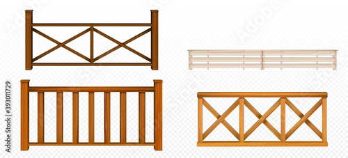 Foto Wooden fences, handrail, balustrade sections with rhombus and grates patterns Ba