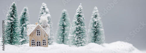 Foto Little toy house on snow in forest