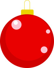 Vector Of Christmas Tree Bauble. Red Christmas Tree Christmas Bauble.