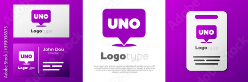 Logotype Uno card game icon isolated on white background фототапет