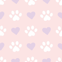 Cute Paws And Hearts Pastel Pa...