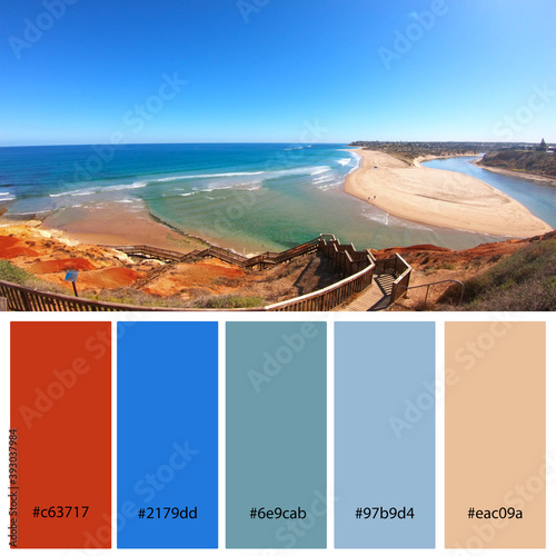 Designer Color Palette inspired by the stunning red and blue tones of the South Australian Southport Onkaparinga River estuary Wallpaper Mural