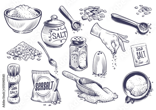Fototapeta Hand drawn salt. Salting crystal, glass bottle with powder, spoon with spice, saltshaker collection, himalayan or sea salt in engraved style set, cooking ingredient vector illustration obraz