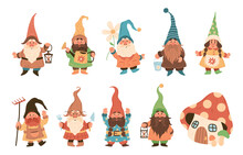 Gnome Characters. Cute Festive Dwarfs With Different Attributes Decoration Yard Collection, Xmas Fairy Tale Gnomes With Lanterns And Garden Tools In Hats Colorful Cartoon Vector Set