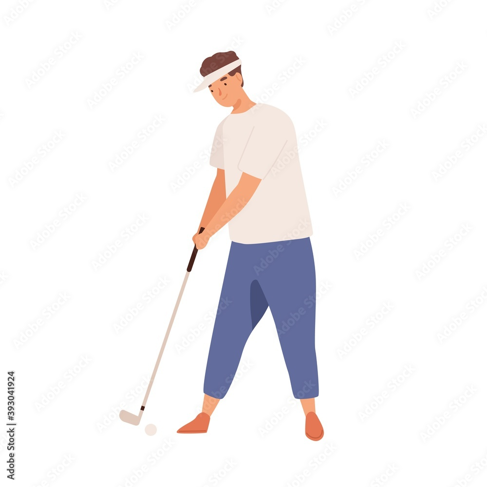 Fototapeta Professional male golfer with golf club. Smiling young man playing golf with niblick. Flat vector cartoon illustration of practicing sportsman isolated on white background