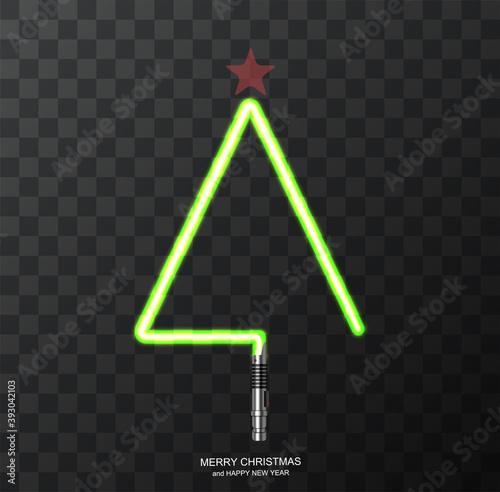 Fotografie, Obraz Vector modern concept Christmas tree and light swords on transparent background