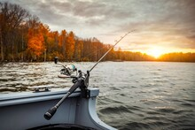 Fishing Rod On The Boat, Sunse...