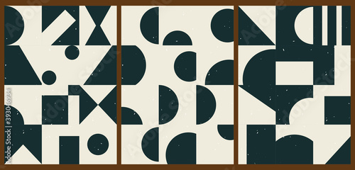 Fotomural A set of three colorful aesthetic geometric backgrounds