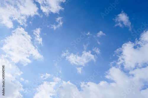 Cuadros en Lienzo Bright blue sky with snow-white clouds speak of purity and freshness