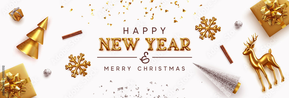 Fototapeta Happy New Year and Merry Christmas banner. Background Xmas design of realistic Gold decorative metal holiday objects. Festive decorations. Horizontal poster, greeting card, headers website. 3d vector