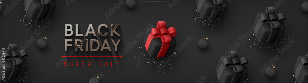 Fototapeta Black Friday Super Sale. Realistic black gifts boxes. Pattern with gift box with red bow. Dark background silver text lettering. Horizontal banner, poster, header website. vector illustration
