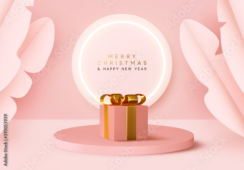Platform and 3d studio, presentation podium. Background realistic festive gifts box. Xmas present. Pink boxes on round stand. Holiday gift surprise. Merry Christmas and Happy New Year. Mock up Stage