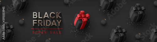 Black Friday Super Sale. Realistic black gifts boxes. Pattern with gift box with red bow. Dark background silver text lettering. Horizontal banner, poster, header website. vector illustration
