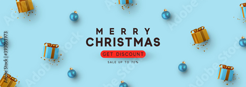 Christmas and New Year holiday. Blue Background with realistic gift box, bauble decor balls. Greeting card, banner, horizontal poster, website for header. Xmas decorative. Get discount, Sale up to 70%