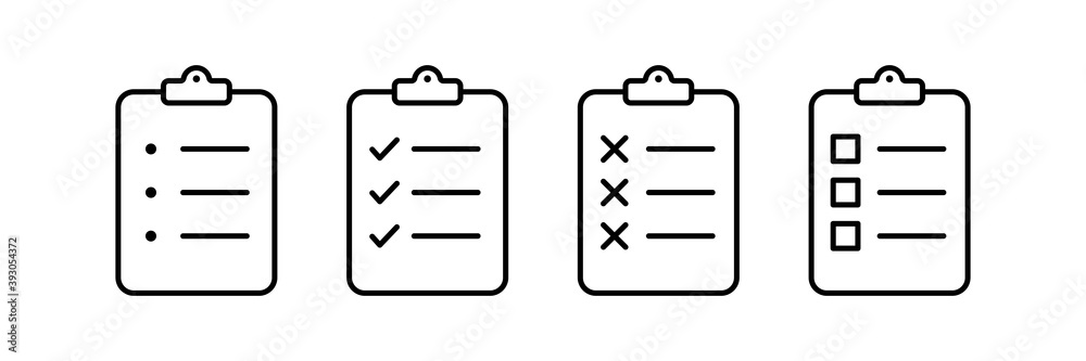 Fototapeta Checklist clipboard vector icon. check list sign outline isolated on white background. clip board or pad symbol. complete document page, quality test mark. website stock illustration
