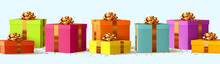 Realistic Pile Of Gifts Box In Different Colors With Golden Bows. Holiday Set Presents. Festive 3d Decor Objects For New Year, Christmas, Birthday, Anniversary, Wedding Surprise. Vector Illustration