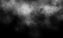 Abstract Gray And White Smoke Overlays Realistic Explosion Dust And White Natural Effect Pattern On Black.