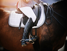 On A Bay Sports Horse In A Leather Saddle Sits A Rider In Black Boots With Spurs, Holding The Reins From The Bridle. Horseback Riding. Equestrian Sport.