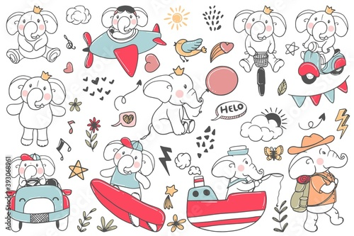 doodle cute elephant illustration activities, climbing, cycling, surfing, car rides, airplane pilots, sailors