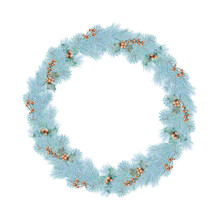 Merry Christmas Wreath With Pine Branches And Berries