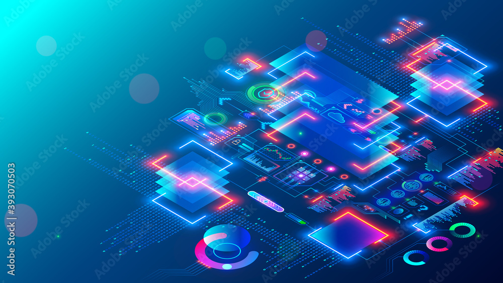 Fototapeta Computer CPU chip or processor on motherboard processes data. Electronic microchip technology. abstract isometric tech concept banner. Blockchain, fintech, artificial intelligence hardware, software.