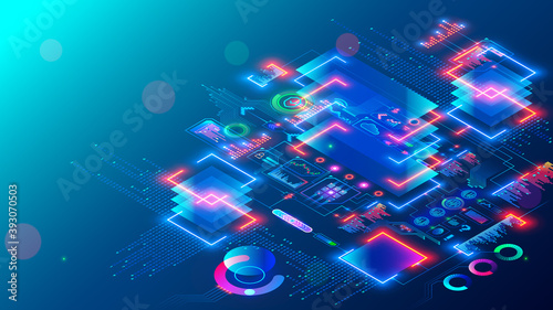 Obraz Computer CPU chip or processor on motherboard processes data. Electronic microchip technology. abstract isometric tech concept banner. Blockchain, fintech, artificial intelligence hardware, software. - fototapety do salonu