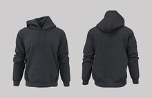 Blank Hooded Sweatshirt Mockup For Print, Isolated On Grey Background, 3d Rendering, 3d Illustration