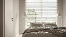 Cosy Wooden Peaceful Bedroom In Beige Tones, Double Bed With Pillows And Blankets Close-up, Ceramic Tiles Floor, Floor Lamps, Big Window With Venetian Blinds, Modern Interior Design