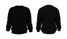 Blank Sweatshirt Mock Up In Front, And Back Views, Isolated On White, 3d Rendering, 3d Illustration