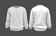 Blank Sweatshirt Mock Up Template In Front, And Back Views, Isolated On Gray, 3d Rendering, 3d Illustration