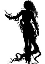 Dryad Woman Silhouette / Stylized Woman In Branches And Roots Outfit