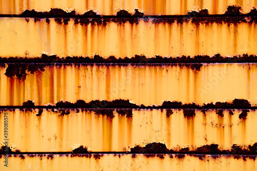 Fotografia, Obraz Heavy rusted orange iron wall