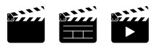 Clapper Board Set. Open Movie Clapper Vector