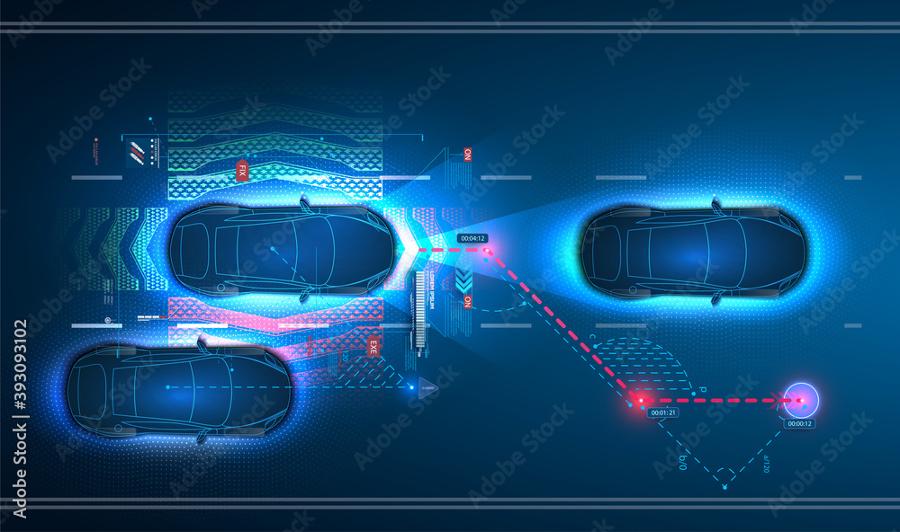 Fototapeta Car interface in HUD, GUI, UI style. Automotive sensing system concept. Autonomous car. Driver assistant system. Car top view with electronic digital interface, parameters and options, scans the road