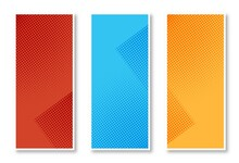 Abstract Set Of Stylish Halftone Banners Set Design