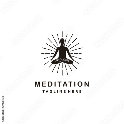 Photo Yoga meditation silhouette in meditating pose with scroll and sunburst on white